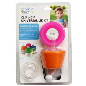 Clip N Sip Silicone Lid Pink/Orange